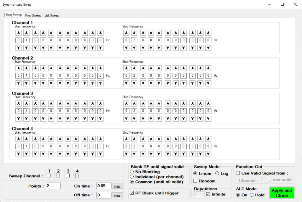 Рисунок 1: Интерфейс синхронного свипирования генератора MCSG-ULN
